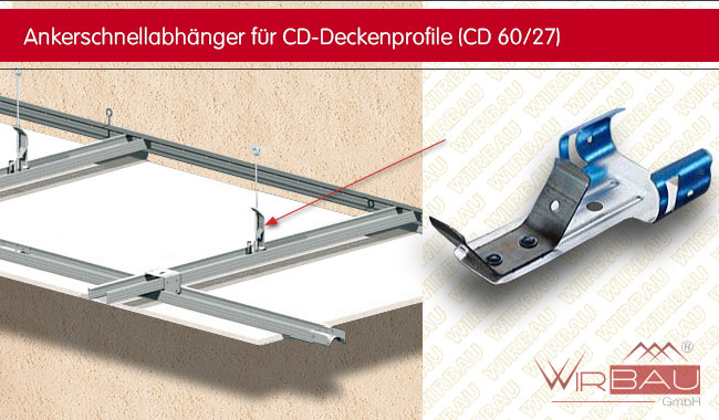 ankerschnellabh nger f r cd deckenprofile g nstige baustoffe online. Black Bedroom Furniture Sets. Home Design Ideas